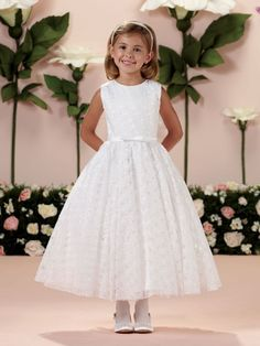 Vintage Lace Tea Length Communion Dress - Joan Calabrese 114351 - Beautiful Girls First Holy Communion Dress Boutique Ascot Berkshire PLEASE NOTE -