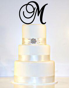 "6"" Monogram Wedding Cake Topper in Any Letter A B C D E F G H I J K L M N O P Q R S T U V W X Y Z"