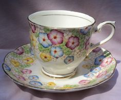 Royal Albert Pink Blue Yellow Flowers Tea Cup & Saucer