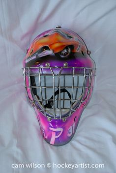 The General Lee Goalie Mask - Airbrushing by Cam Wilson www.hockeyartist.com