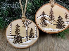 Wood Burned Birch Slice Christmas Ornament Trees Snow Scene
