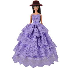 E-TING Fashion Purple Lace Dress Princess Gown Party Clothes with Hat For Barbie Doll