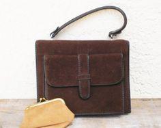 6c2037f1fa Vintage Brown Suede Purse, Vintage Suede Handbag, Italian Suede Bag, Vintage  Purse,