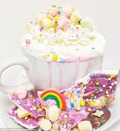 Magical: A California cafè is selling 'unicorn hot chocolate' (pictured)...