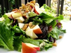 Salad with apples, blue cheese, and walnuts! Yumm... Perhaps could be improved with bacon? ;)