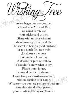 Custom Printable Wedding Wishing Tree Sign by StaceCadetDesigns, $10.00: