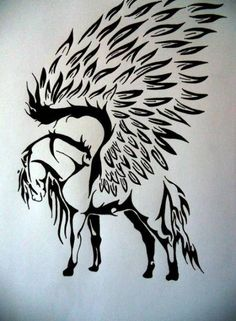 pegasus great for a tattoo Arte Tribal, Tribal Art, Horse Drawings, Art Drawings, Hirsch Silhouette, Pegasus Tattoo, Horse Tattoo Design, Tribal Horse Tattoo, Animal Tattoos