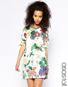 ASOS TALL Botanical Floral Dress In Texture