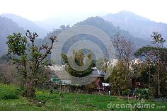 Photo about A rural indian farm in the foot hills of the Himalayas with photovoltaic panels and solar hot water. Image of peaks, panels, hills - 96535564 Agriculture, Solar, Indian, Stock Photos, Water, Image, Gripe Water, Indian People, Aqua
