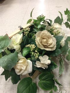 Burlap flowers in a wooden chest