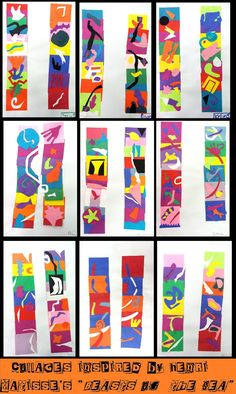 """cut paper collage with movement - inspired by Matisse's """"Beasts of the Sea"""""""