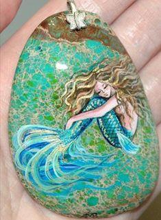 Beautiful mermaid painted rock necklace