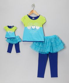 Another great find on #zulily! Green & Blue Heart Skirted Leggings Set & Doll Outfit - Girls by Dollie & Me #zulilyfinds