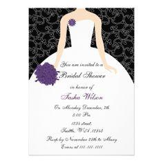 invitación (wedding shower) nupcial púrpura