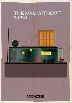 """Archicine: 'The man without a past"""", de Aki Kaurismäki   'archicine', del artista Federico Babina, es una serie de ilustraciones que representan edificaciones de películas icónicas."""
