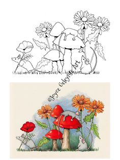 Art Print PLUS Printable Page to Color Mice by FreshAirPrintables