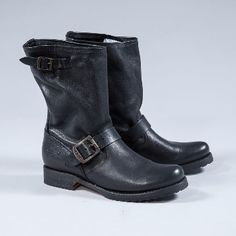 Frye  Women's Black Leather Biker Boots: Black Leather Biker Boots chic at it's best - these short leather boots by American shoe makers, The Frye Company, are the cream of the crop when it comes to durable, practical and stylish footwear. These beauties are made from full grain leather with antique brass buckle straps and a sloping top.