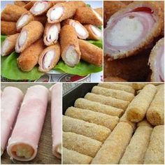 These ham and cheese stuffed rolls look so cheesy and delicious, and they are easy… New Recipes, Cooking Recipes, Favorite Recipes, Healthy Recipes, Yummy Recipes, Tapas, Fingers Food, Kids Meals, Easy Meals