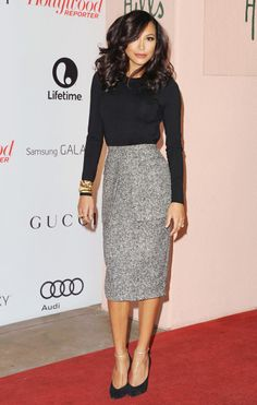 Long pencil skirt, black long sleeve, and ankle strap heels