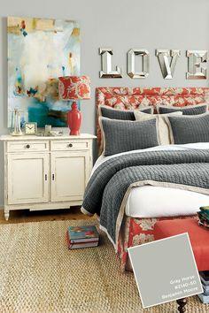 Love the wall color and gray bedspread. Bedroom Photos, Home Bedroom, Bedroom Decor, Bedroom Ideas, Master Bedroom, Gray Bedspread, Cosy Room, Ballard Designs, Beautiful Bedrooms