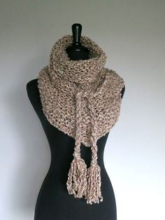 Light Beige Taupe Oatmeal Color Chunky Knitted by KnitsomeStudio