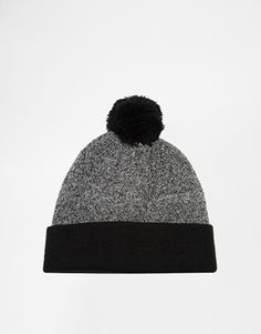 ASOS Contrast Turn Up Bobble Beanie In Black And Grey at asos.com ae8a05004
