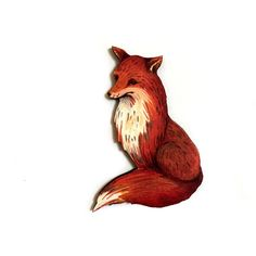 Red Fox Brooch, Cute, Fun, Unique Jewelry, Woodland, Animal lovers... (€10) ❤ liked on Polyvore featuring jewelry, brooches, trending, pin brooch, red jewelry, pin jewelry, red brooch and red jewellery