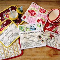 Print recipes on fabric then sew them onto pot holders - so cute and clever