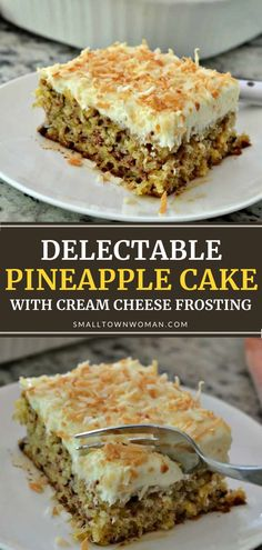 Pineapple Cake with Cream Cheese Frosting screams summer in every bite! This dessert idea is easy to prepare. With a pineapple-flavored cream cheese frosting and toasted coconut topping, this moist delectable treat will become a family favorite! Save this summer recipe!