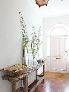 Entrance, work bench, herringbone floor. barefootstyling.com