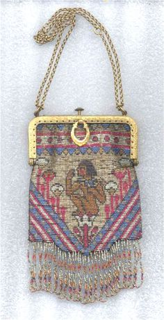 RARE Figural Brightly Colored Steel-Bead Purse with Egyptian Figure