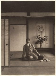 Adolf de Meyer,[Men Sitting in Japanese House with Teapot and Cups], 1900s