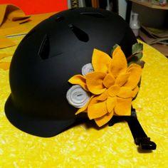 Cool but boring bike helmet+hot glue gun+felt+my love for flowers=this. #bike #flowers