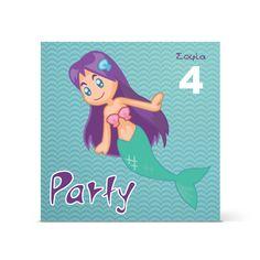 Πρόσκληση με γοργόνα, τετράγωνη για κορίτσια, Σας προσκαλώ σε ένα πάρτι γεμάτο παιχνίδι και χορό!