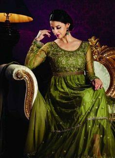 Mystical Green Net Embroidery Work Anarkali Suit http://www.angelnx.com/Salwar-Kameez/Anarkali-Suits