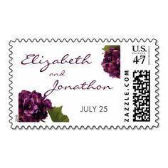 Purple Hydrangea - floral wedding stamp