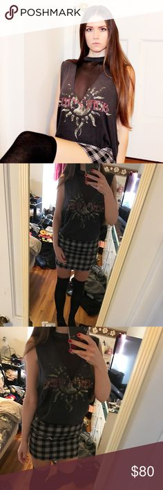 LF Furst of a Kind band rock vintage mesh tee 🌹 LF Furst of a Kind mesh godsmack rock band tee modeled by me 🌹💖😊 rock metal Tshirt mesh front and back super trendy and festival ready for all you babes!! Size medium can fit small- large oversized look and custom mesh so cool! 😍🌹🌹🌹tags: nasty gal unif hot topic band shirts merch carmar LA wildfox topshop lace up shirt tees festivals distressed dollskill LF Tops