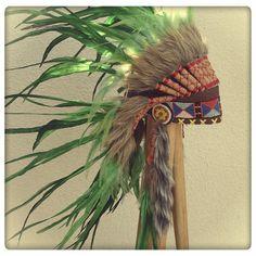 Emerald Green Feather Headdress by ParadiseGypsies Native American Headdress, Native American Indians, Red Indian, Feather Headdress, Pink Feathers, Fantasy Dress, Fur Trim, Bright Pink, Emerald Green