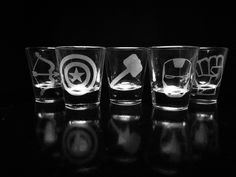 The Avengers- Shot Glasses - Set of 5- Iron Man- Captain America- Thor- Hulk- Hawkeye by GopherStudios on Etsy https://www.etsy.com/listing/229550464/the-avengers-shot-glasses-set-of-5-iron