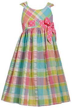 2cd539dd5de Amazon.com  Big Girls Plus Pink Multi Metallic Plaid Pull-Thru Ribbon Fit- Flare Dress