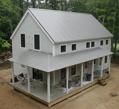 Nice Completed Wrap Timber Frame Porch With Metal Roof.