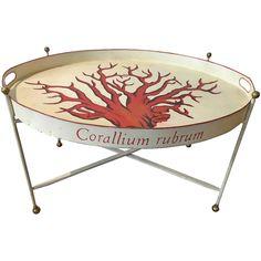 Tole Corallium Rubrum Campaign Table 1 Vintage Coffee, Vintage Table, Table 19, Coral Print, Cocktail Tables, Cool Furniture, Coffee Shop, Chair, Antiques