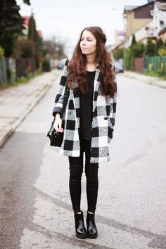 Warm Plaid Woollen Coat