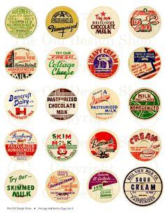 Vintage Milk Cream Bottle Cap Drink Dairy Farm by TheOldDesignShop, $3.50