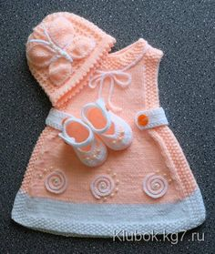 A lovely pattern to knit for a baby or reborn Baby Knitting Patterns, Baby Patterns, Hand Knitting, Knit Baby Dress, Knitted Baby Clothes, Baby Converse, Baby Vest, Baby Cardigan, Tricot D'art
