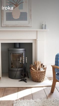 Ammonite Farrow & Ball Living Room Paint, Home Living Room, Gray Interior, Interior And Exterior, Ammonite Farrow And Ball, Ammonite Paint, Fireplace Mantels, Brick Fireplaces, Wall Colors