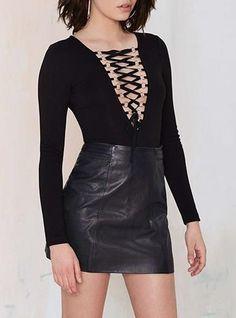 Black Lace-Up Bodysuit Jumpsuit - Shoelace Bodice / Long Sleeves / Stretch Fabric
