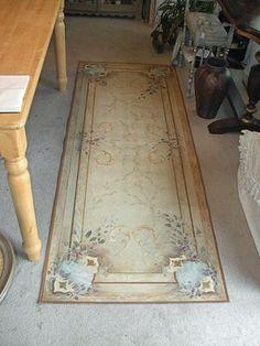 beautiful hand painted floor cloth B R I A R C O T T A G E F L O O R C L O T H S