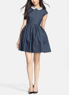 Wearing this embellished denim fit & flare dress to the next party! Love this Kate Spade beauty.