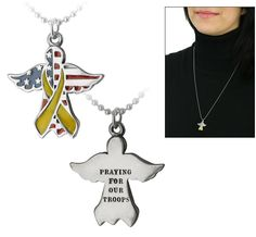 """Praying for Our Troops Yellow Ribbon Angel Necklace  Provides 1 Meal(s) for Veterans.  Show your support for our men and women in uniform with an angelic necklace that expresses your prayers for their safe return.  Details: Silver-tone metal & enamel.  Back reads """"Praying for our troops"""".  Pendant: 1"""" L (2.5 cm). Silver-tone chain: 24"""" L (61 cm).  Price: $16.95"""